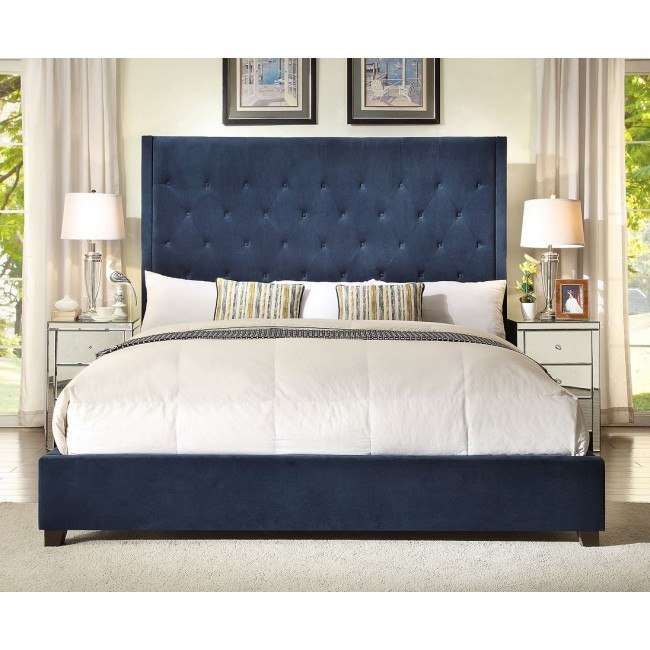 Reese Navy Upholstered Bed