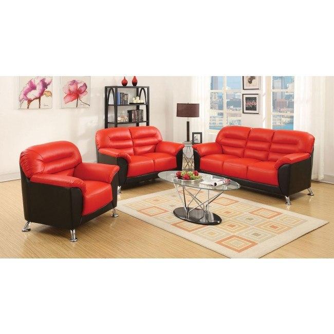 Sibba Living Room Set (Red/Black)