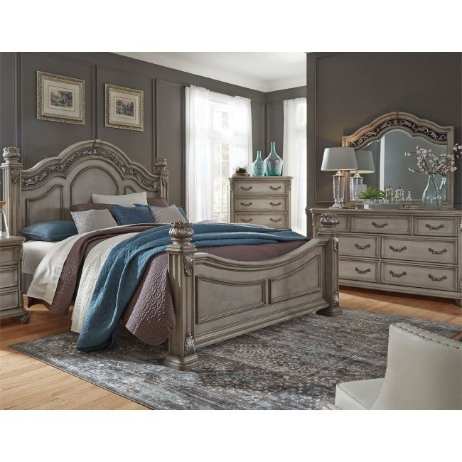 Messina Estates Poster Bedroom Set (Dove Gray)