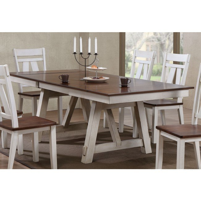 Winslow Rectangular Dining Table (Off White/ Rustic Cherry)