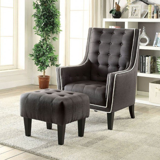 Swell Ophelia Accent Chair W Ottoman Black Ocoug Best Dining Table And Chair Ideas Images Ocougorg