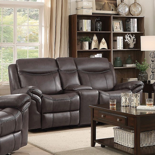 Miraculous Sawyer Glider Reclining Loveseat W Console Brown Gmtry Best Dining Table And Chair Ideas Images Gmtryco