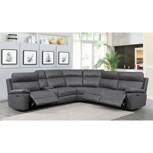Albany Modular Power Reclining Sectional w/ Power Headrests (Grey)