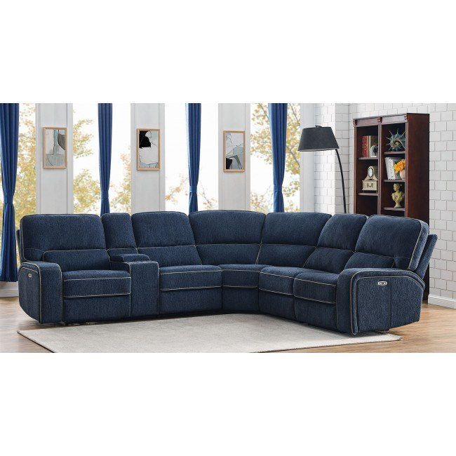Pleasant Dundee 6 Piece Power Reclining Sectional W Power Headrests Navy Blue Evergreenethics Interior Chair Design Evergreenethicsorg