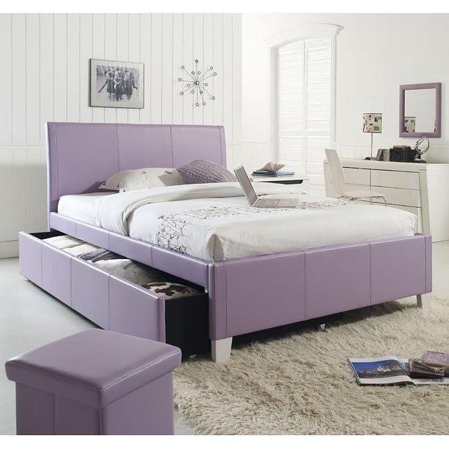 Fantasia Lavender Upholstered Bed w/ Trundle