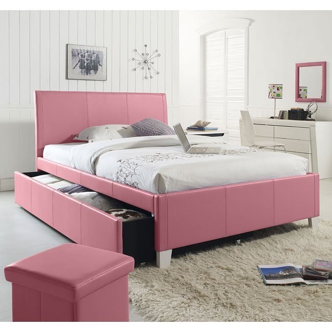 Fantasia Pink Upholstered Bed w/ Trundle