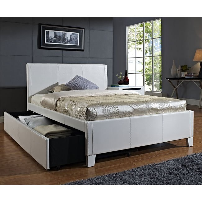 Fantasia White Upholstered Bed w/ Trundle