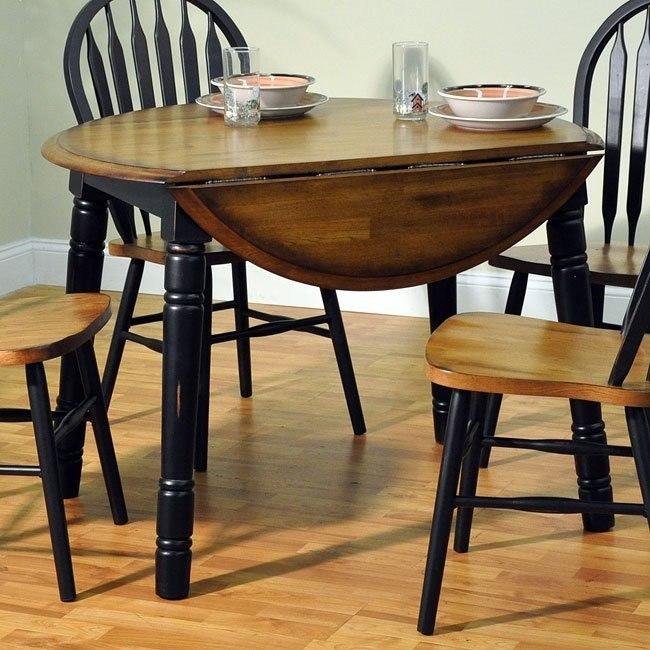 Farm House Round Table Rustic Oak Rubbed Black