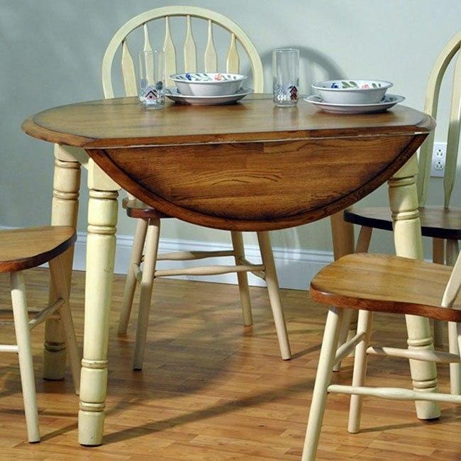 Farm House Round Table Rustic Oak Antique White