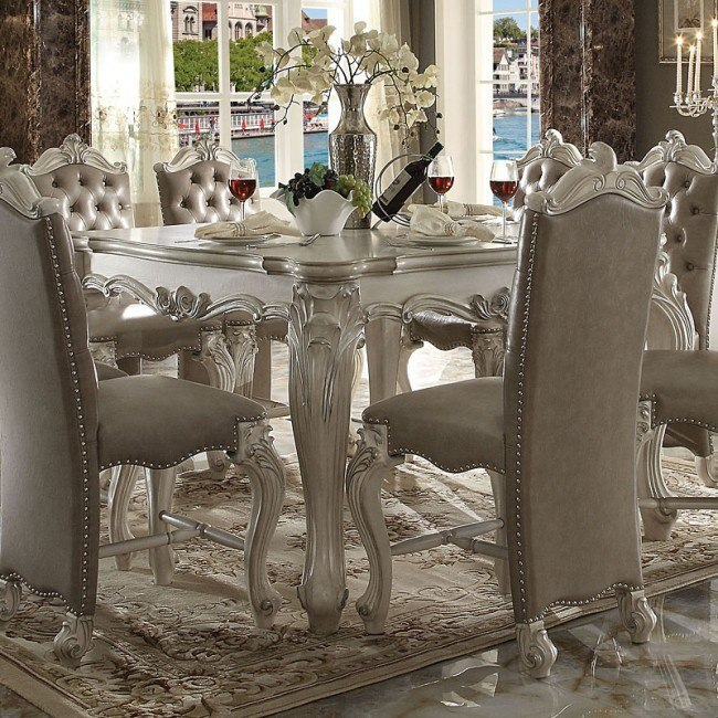 Versailles Counter Height Table (Bone White)