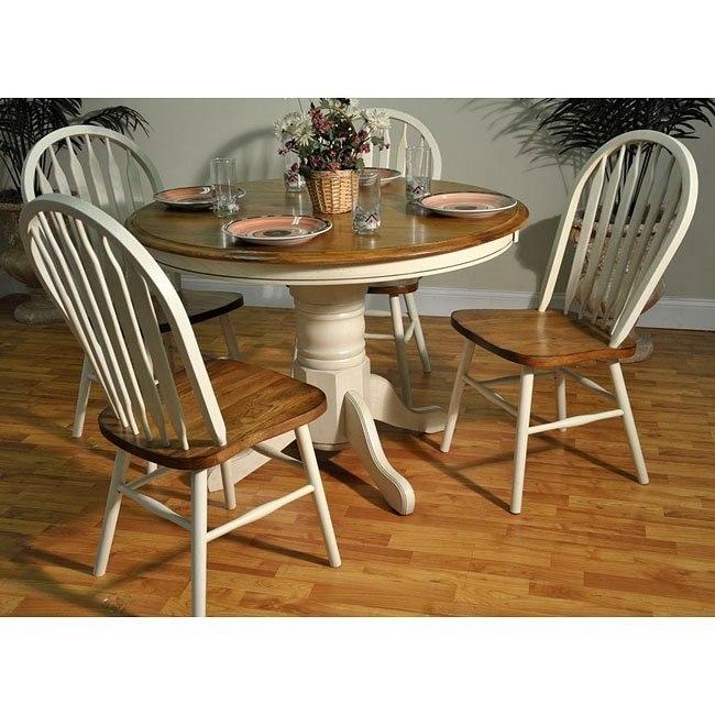 Antique Oak Dining Room Sets: Antique White And Oak Round Dining Room Set ECI Furniture