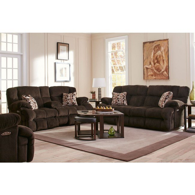 Brice Power Lay Flat Reclining Living Room Set w/ Power Headrests (Chocolate)