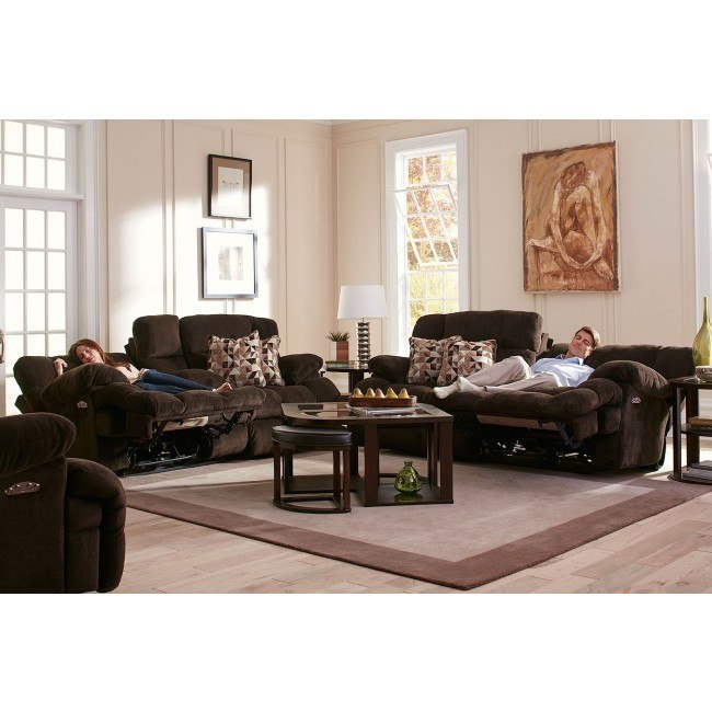 Brice Power Lay Flat Reclining Living Room Set w/ Power Headrests and Lumbar (Chocolate)