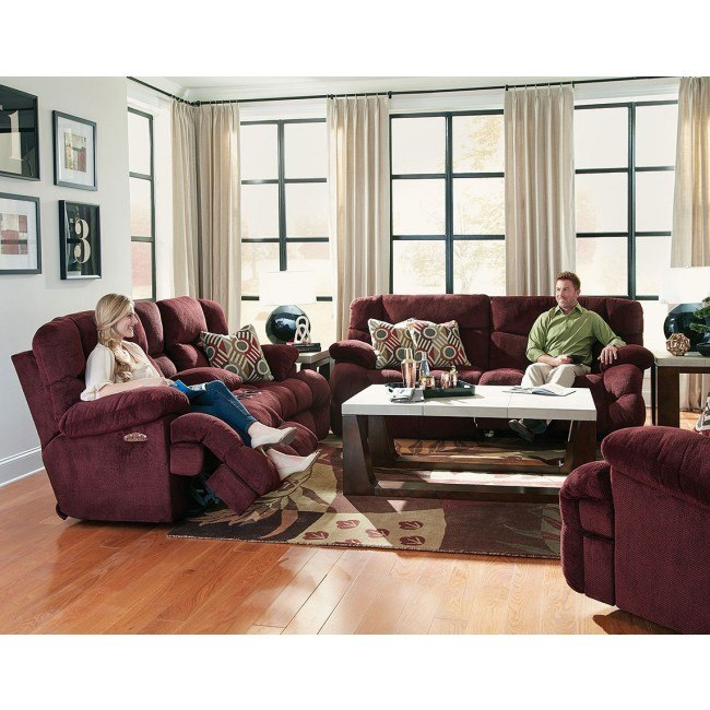 Brice Power Lay Flat Reclining Living Room Set w/ Power Headrests and Lumbar (Cranapple)