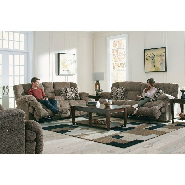Brice Power Lay Flat Reclining Living Room Set w/ Power Headrests and Lumbar (Chateau)