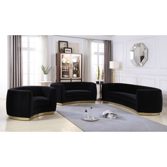 Julian Living Room Set (Black/ Gold)