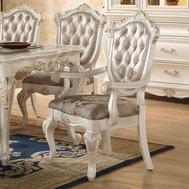 Chantelle Arm Chair (Pearl White) (Set of 2)