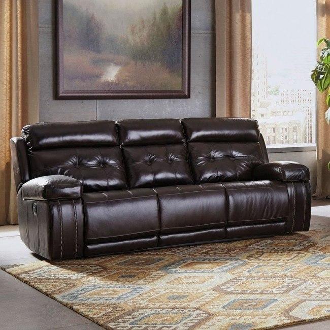 Graford Walnut Power Reclining Sofa W Adjustable