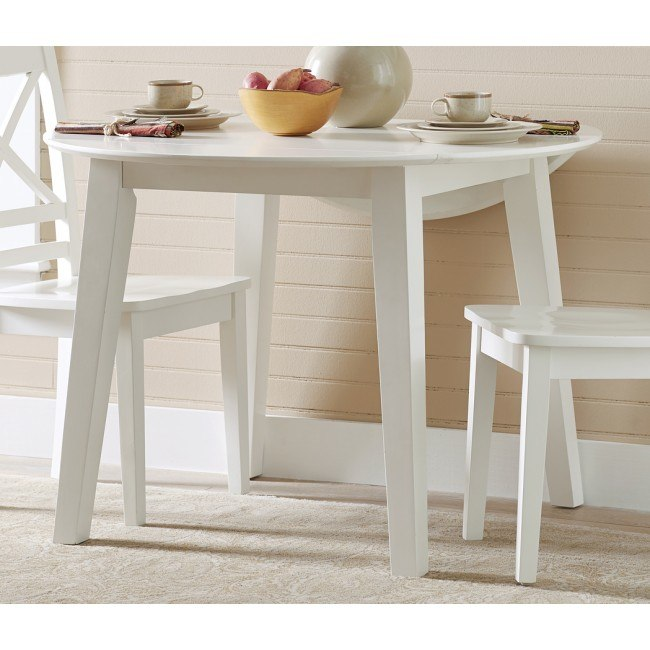 Simplicity Round Drop Leaf Table (Paperwhite)