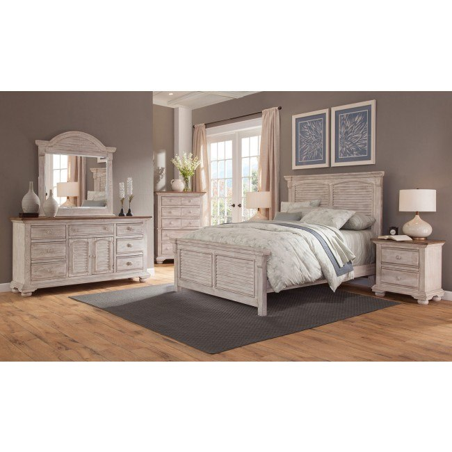 Cottage Traditions Panel Bedroom Set (Crackled White)