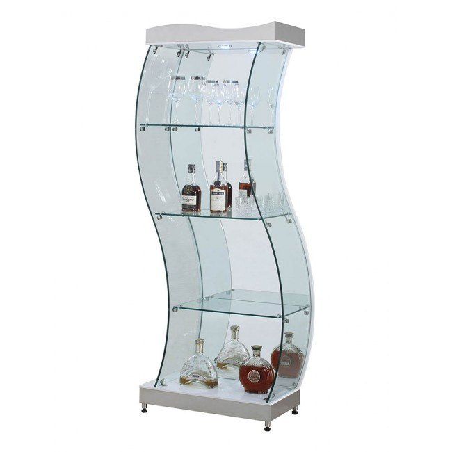 White S-Shaped Glass Curio