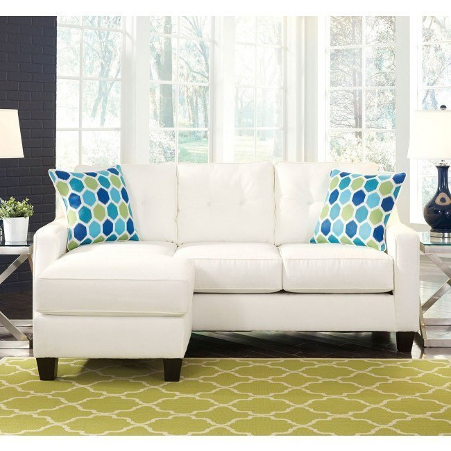 Aldie Nuvella White Queen Sofa Chaise Sleeper By