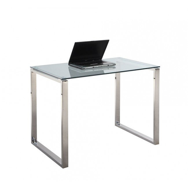 Clear Glass And Stainless Steel Small Computer Desk By Chintaly