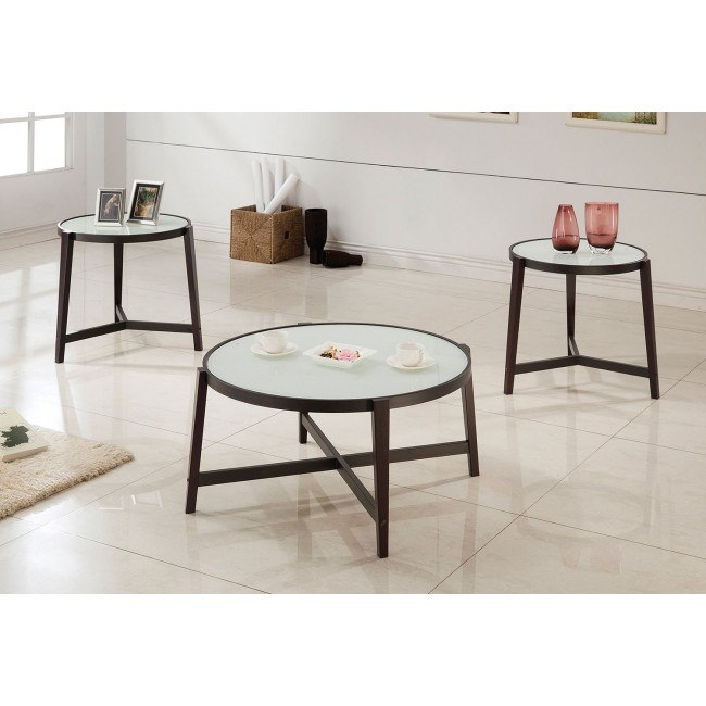 3-Piece Occasional Table Set w/ White Glass Tops