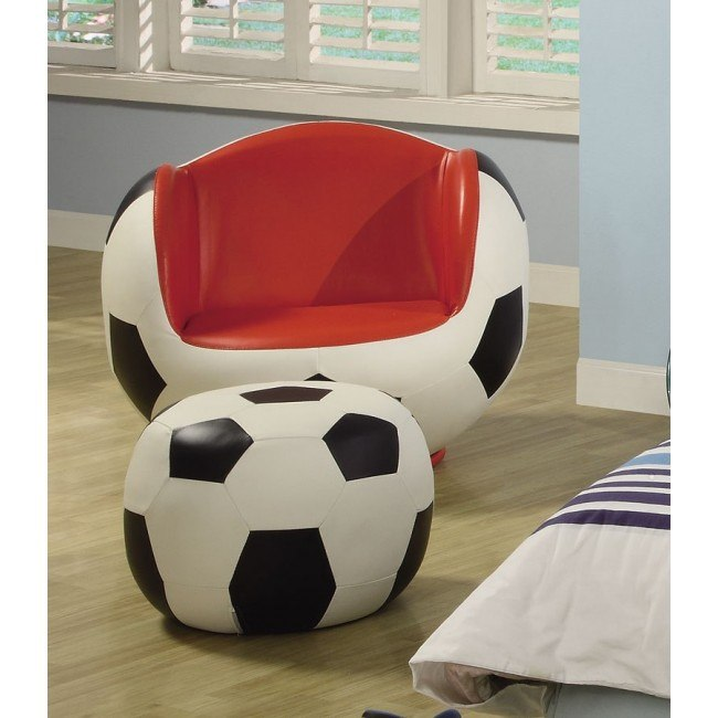 Soccer Kids Swivel Chair w/ Ottoman
