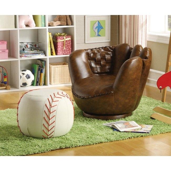 Baseball Glove Kids Chair w/ Ottoman