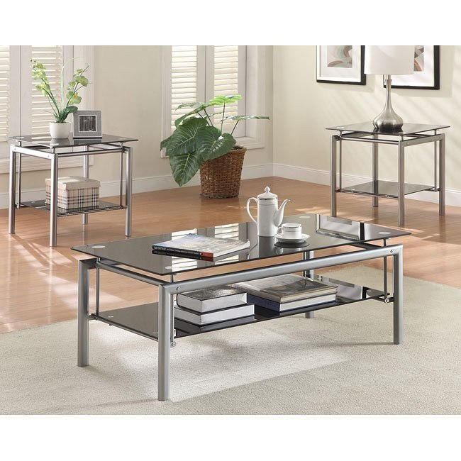 3-Piece Occasional Table Set w/ Black Glass Tops