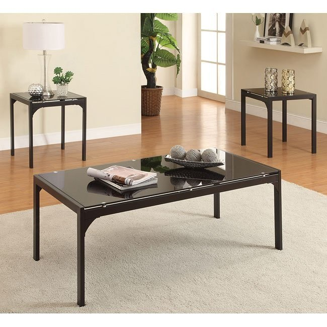 3-Piece Occasional Table Set w/ Tempered Glass Tops