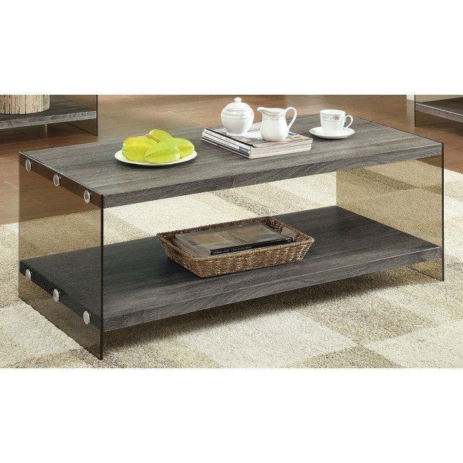 Weathered Gray Coffee Table W Gl Sides