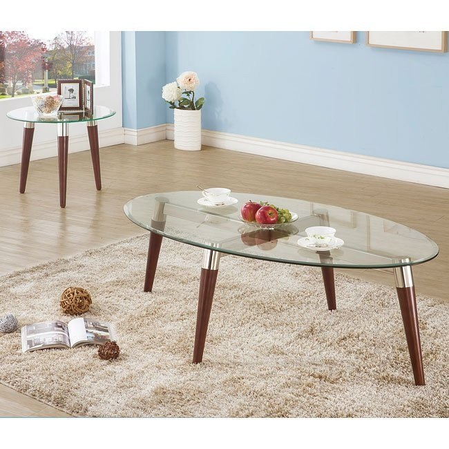 Oval Glass Top Occasional Table Set