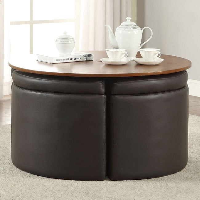 5-Piece Coffee Table Set w/ Leather Ottomans