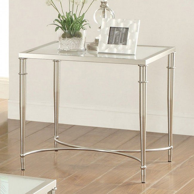 Frosted Glass Top End Table