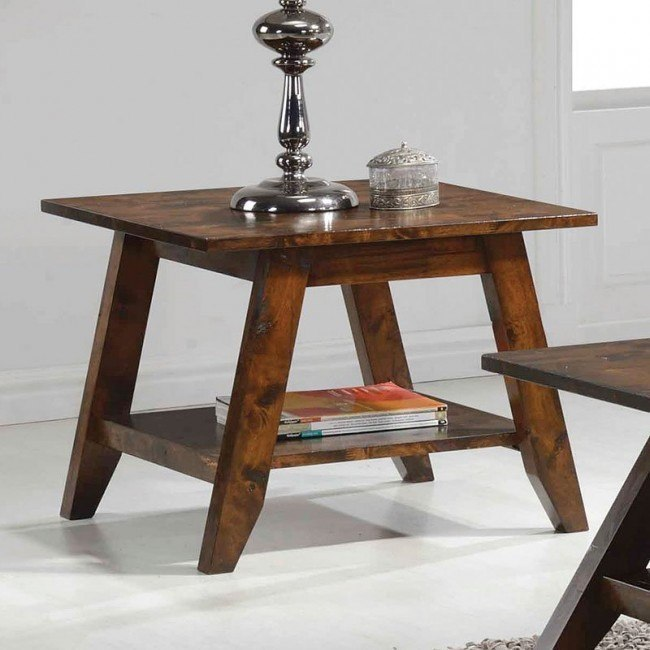 Rustic Pecan End Table