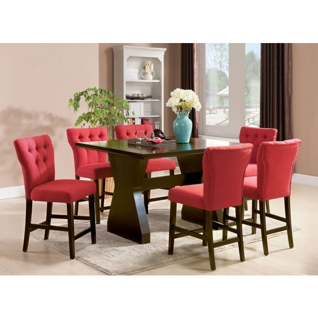 Effie Counter Height Dining Room Set w/ Red Chairs