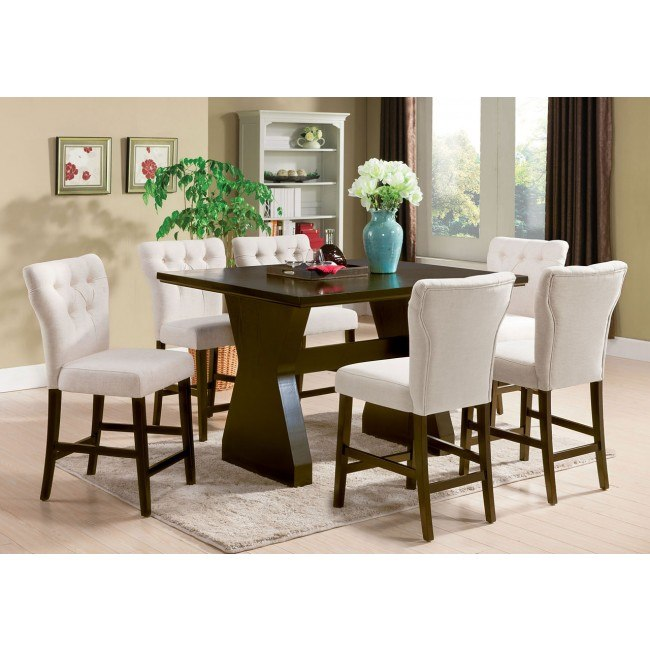Effie Counter Height Dining Room Set w/ Beige Chairs