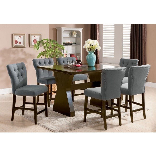 Effie Counter Height Dining Room Set w/ Gray Chairs