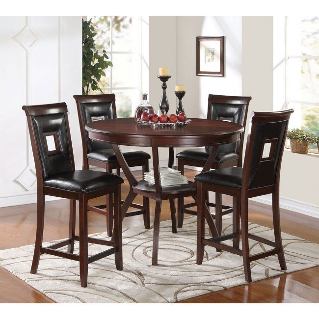 Oswell 5-Piece Counter Dining Set w/ Black Chairs
