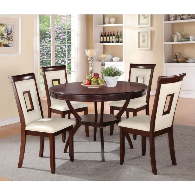 Oswell 5-Piece Dining Room Set w/ Cream Chairs