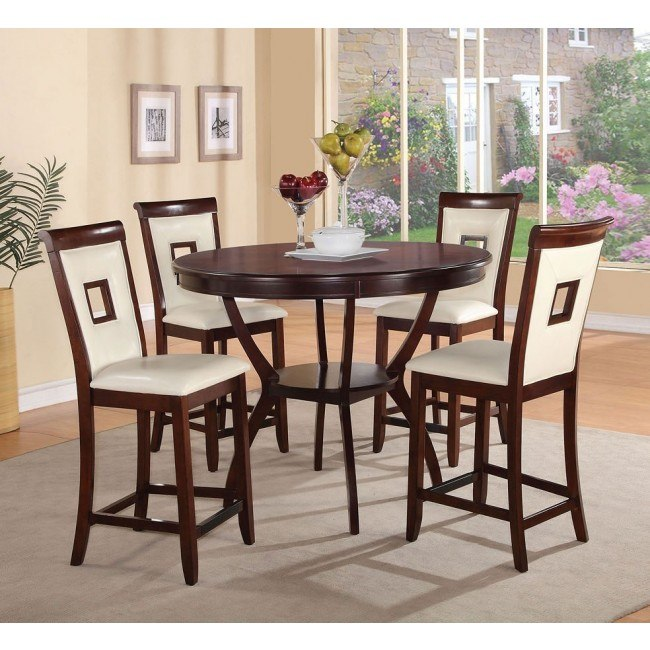 Oswell 5-Piece Counter Dining Set w/ Cream Chairs