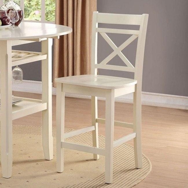 Tartys Counter Height Chair (Cream) (Set of 2)