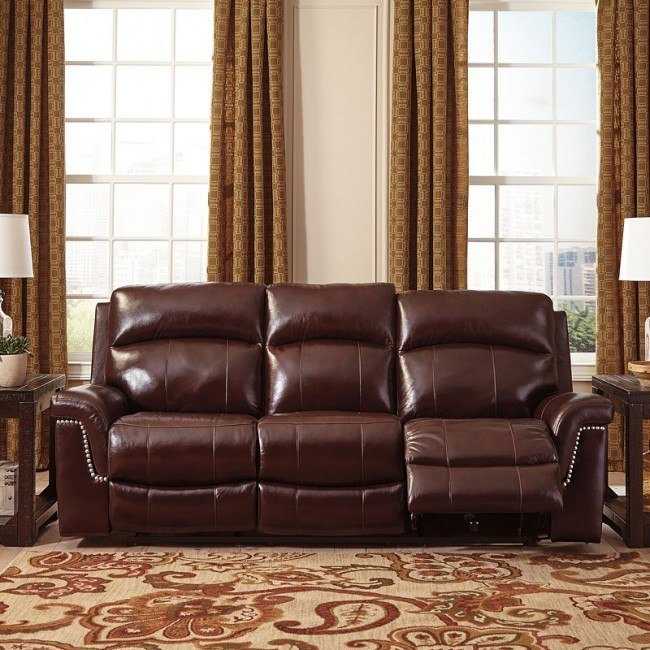 Timmons Burgundy Power Reclining Sofa w/ Adjustable Headrest