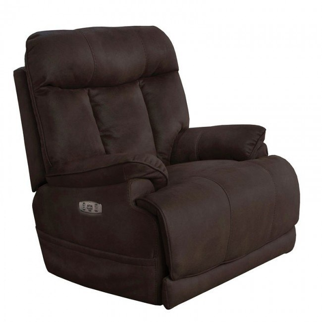 Amos Power Lay Flat Recliner w/ Power Headrest (Dark Chocolate)