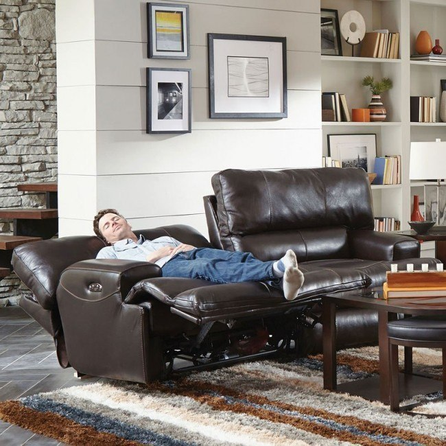 Amazing Wembley Power Lay Flat Reclining Sofa W Power Headrest And Lumbar Chocolate Pabps2019 Chair Design Images Pabps2019Com