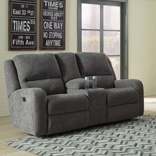 Magnificent Krismen Charcoal Power Reclining Loveseat W Console Evergreenethics Interior Chair Design Evergreenethicsorg