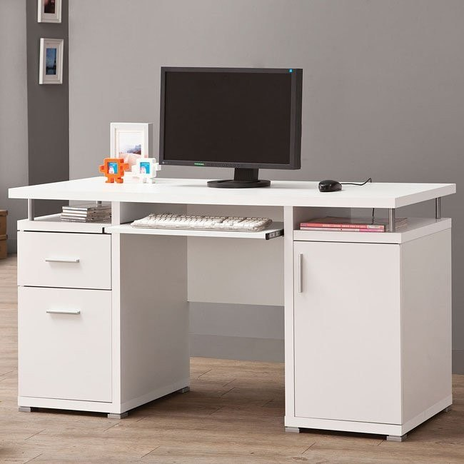 Modern White Computer Desk By Coaster Furniture, 1 Review