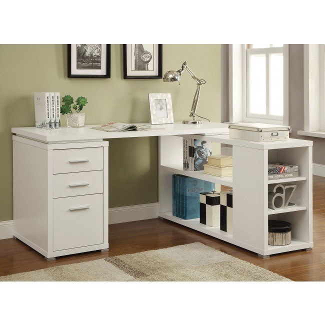 Yvette L-Shape Office Desk (White)